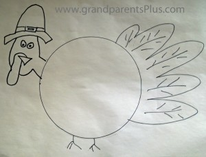 Turkey Drawing resized 300x230 Thanksgiving Place Settings for Kids