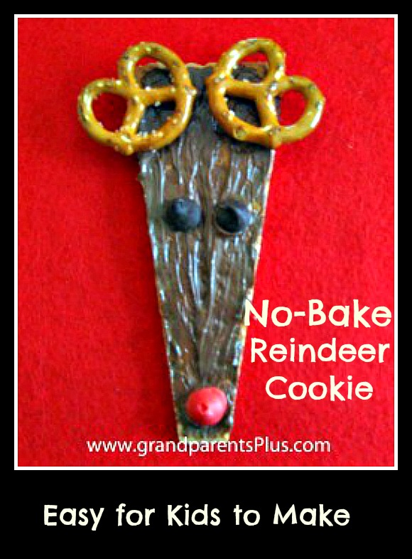 No-Bake Reindeer Cookie  grandparentsplus.com