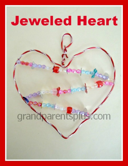 Jeweled Heart for Valentines! Easy craft for elementary kids! #craft #Valentine #heart