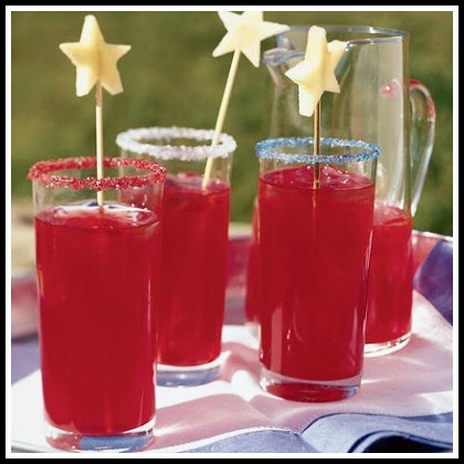 4th of July Raspberry Lemonade with star picks!