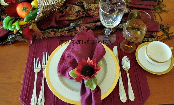 Thanksgiving tablesetting 009pm Using Scarves in Your Tablescape!