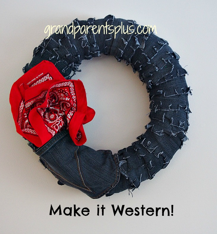 Denim Wreathp Denim Wreath   No Sew!