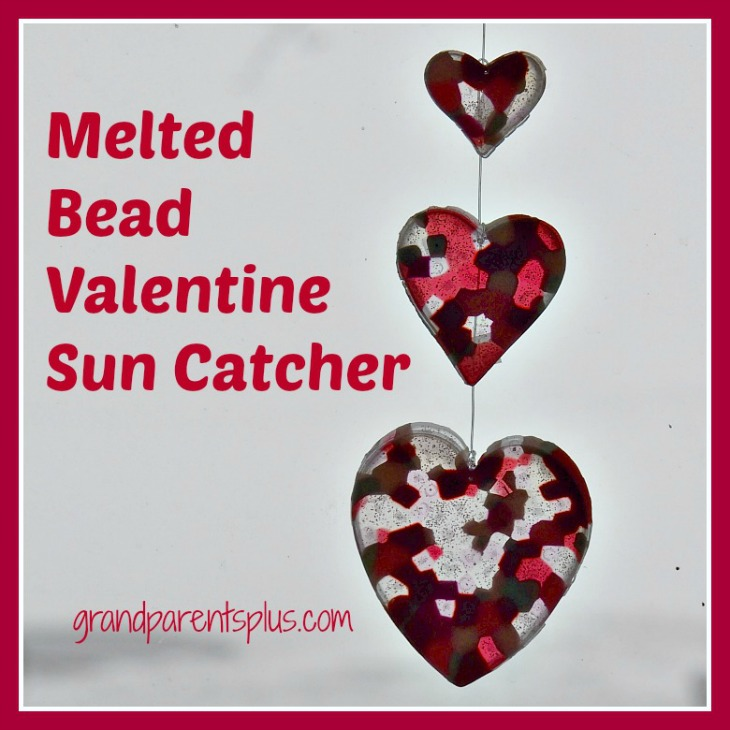 Melted Bead Valentine Sun Catcher    grandparentsplus.com