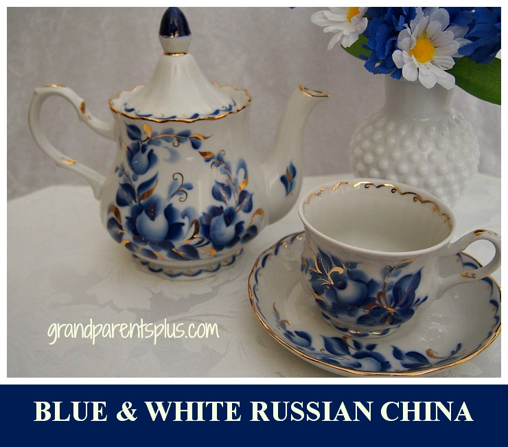 Blue and White Russian China   grandparentsplus.com