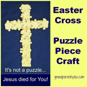 Easter Cross - Puzzle Piece Craft grandparentsplus.com