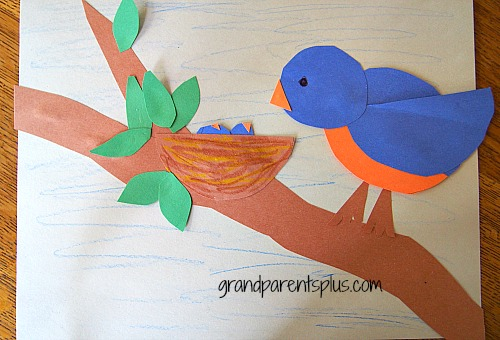 Easy Bird Art for Kids grandparentsplus.com