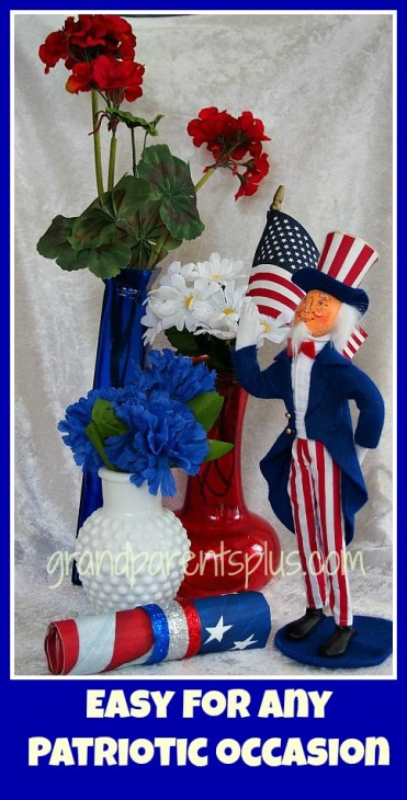 Red, White and Blue Patriotic Centerpiece   grandparentsplus.com