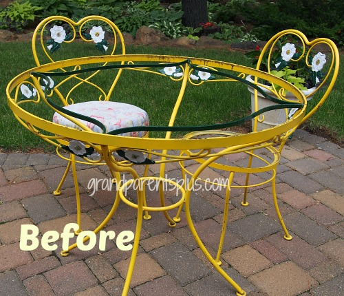 Vintage Wrought Iron Table and Chairs Redo