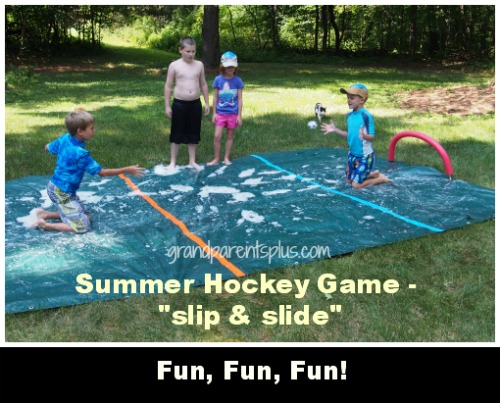 Summer Hockey Game - slip & slide  grandparentsplus.com