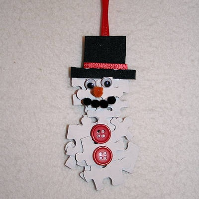 Snowman Puzzle Piece Crafts for All Seasons!