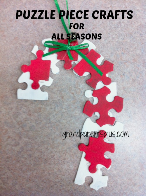 puzzle piece crafts FOR ALL SEASONS candy cane Puzzle Piece Crafts for All Seasons!
