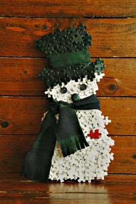 snowman from puzzle pieces Puzzle Piece Crafts for All Seasons!