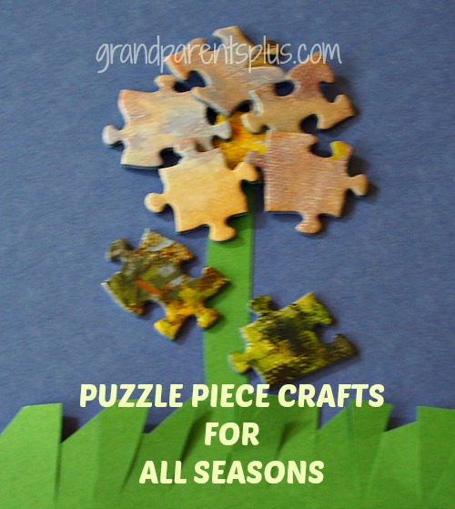 Puzzle Piece Crafts for All Seasons grandparentsplus.com