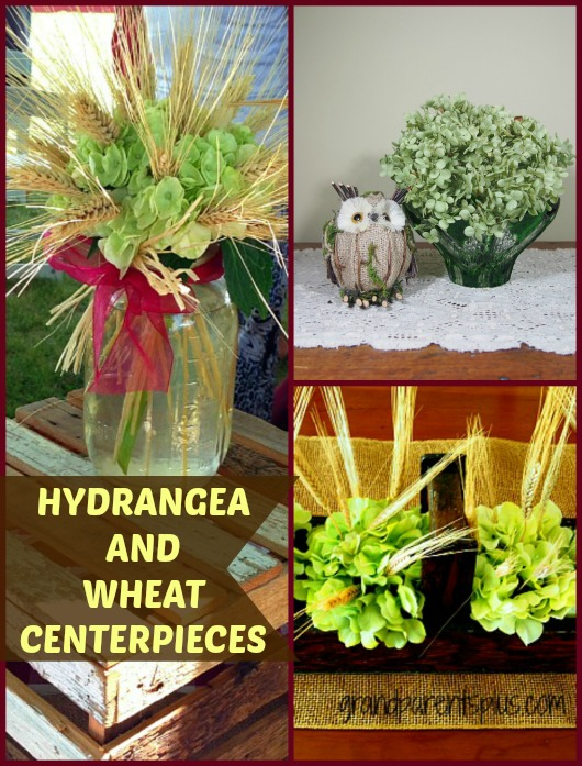 DIY Hydrangea and Wheat PM Hydrangea and Wheat Centerpieces