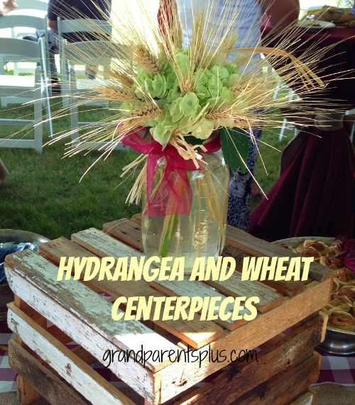 Hydrangea and Wheat Centerpieces  grandparentsplus.com