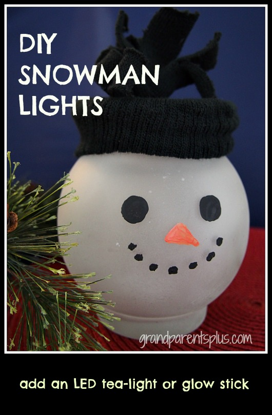 DIY Snowman Lights  grandparentsplus.com
