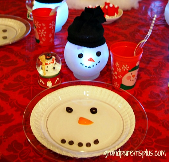 Snowman Placesetting for kids grandparentsplus.com
