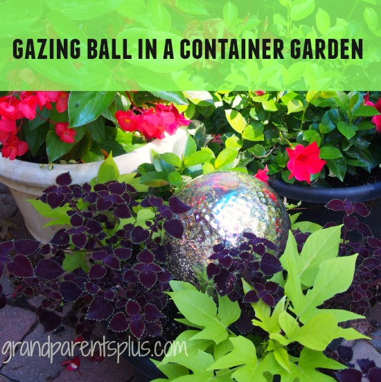 Gazing Ball in a Container Garden