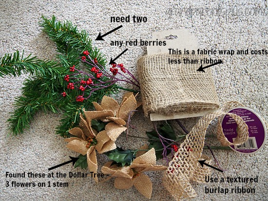 Easy Burlap Christmas Wreath grandparentsplus.com