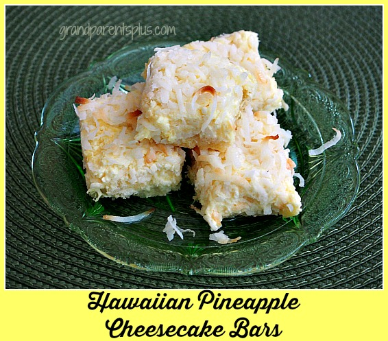 Hawaiian Pineapple Cheesecake Bars grandparentsplus.com