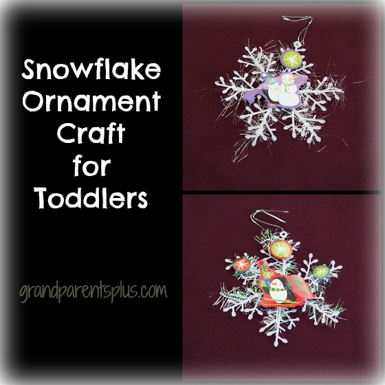 Snowflake Ornament Craft for Toddlers grandparentsplus.com