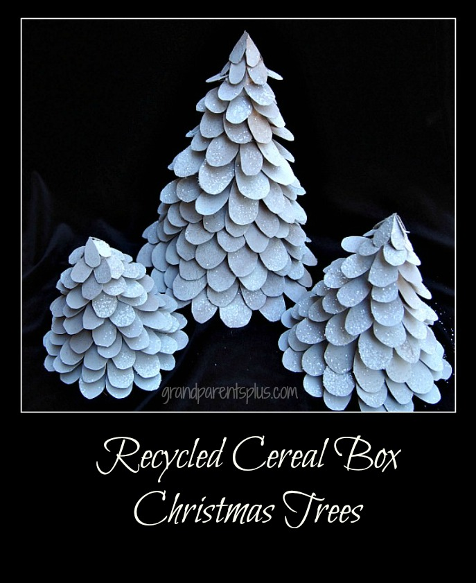 Recycled Cereal Box Christmas Trees grandparentsplus.com